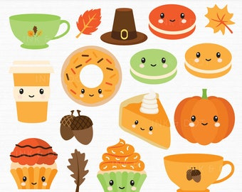 Thanksgiving Clipart, Kawaii Fall Clipart, Autumn Graphics, Pumpkin, Thanks giving, Leaves, Winter, Donuts, Acorns - Commercial & Personal