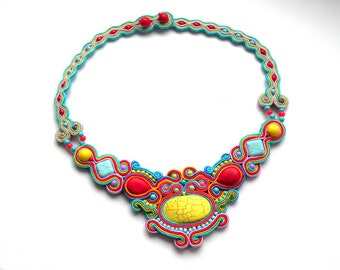 Necklace-Soutache Jewelry-Hand Embroidered-Colorful-OOAK Spring