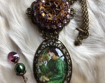 """Romantic Victorian necklace, cabochon, antique brooch, """"Mrs Crocus"""" swarovski crystal"""