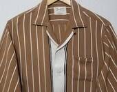 1950s Shirt / L / Striped / Rockabilly / Stage / Loop Collar / Rayon / 1950s Mens Fashion / Marlboro / Gradation / Jerry Lee Lewis / Elvis