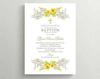 Printable Baptism, Christening, Holy Communion Invitation \ Whimsical Floral Watercolour Invitation (CR58)