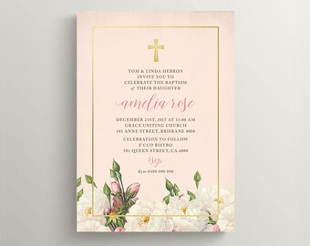 Girl Christening Invitation \ Girl Baptism Invitation \ Holy Communion Invite \ Printable Invitation \ Vintage Floral Invitation (CR66)