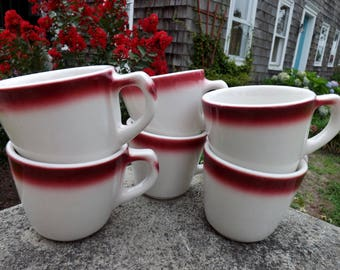 Set of six maroon airbrushed vitrified ironstone restaurant ware mugs - 4 Buffalo china - 2 Homer Laughlin - only slightest difference