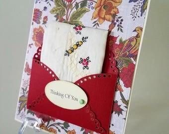 Vintage Embroidered Handkerchief Thinking Of You Birthday Keepsake Gift Hankie Cards