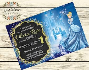 CINDERELLA BIRTHDAY INVITATION - Birthday Party Invitation - Digital File - Fully Customized - Princess Cinderella Birthday Party