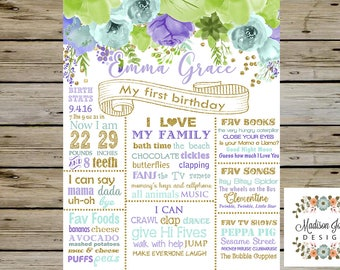 PURPLE and TURQUOISE Vintage Birthday Chalkboard, Purple and Turquoise Birthday Poster, Any Age and Any Colors, Digital Printable