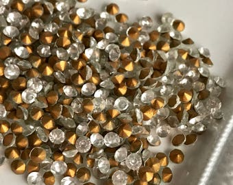 3 mm loose rhinestones foil backed navette clear gold toned round faceted jewelry replacement stones, lot of 50 pcs