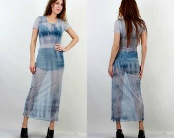 90s Maxi Dress / Sheer Dress / Grunge Dress / Transparent Dress / Vintage Aqua Dress / Rave Dress / Club Kid / Medium Long Dress /