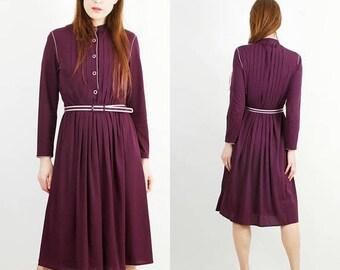 SALE Vintage 80s Dress / Frankenwalder Dress / Midi Dress / Mulberry Color Dress / Long Sleeve Dress