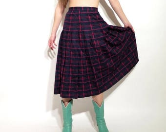 SALE Vintage Plaid Skirt / Tartan Skirt / Accordion Skirt / Weathervane Skirt / Midi Skirt / High Waist Skirt / Size 10 Skirt / Made in USA