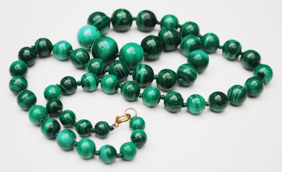 Malichite Bread Necklace - Polished round graduated Beads - 12 kt gold plated clasp  - 27 1/2 inches long