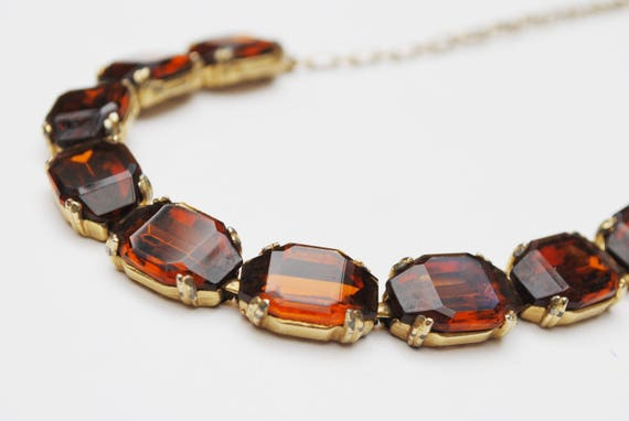 Topaz  Glass Link Necklace -Gold tone metal - Brown Crystal -Collar necklace