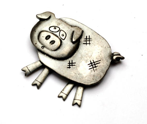 Pewter Pig Brooch - Signed JJ - Jonette Jewelry company - dangle legs - figurine pin
