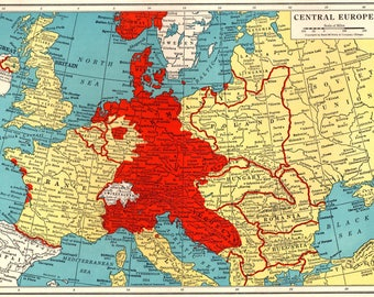 1945 Antique Wartime EUROPE Map Vintage Map of Central Europe Map Collector Gift for Traveler 6232