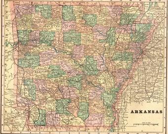 1900 Antique ARKANSAS MAP Vintage Map of Arkansas State Map Gallery Wall Art Gift for Birthday Traveler Wedding 5628