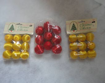 Vintage Gold Satin Unused Ornaments, Red Satin Unused Ornaments, Satin Ornaments, Unused Ornaments, Red and Gold Satin Ornaments, DIY Xmas