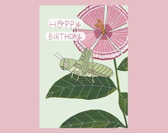Hoppy Birthday Illustrated Birthday Card
