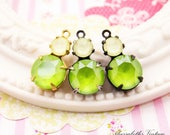Swarovski Laquer Lime Green & Powder Yellow Double Set Drop or Connector 16x9mm Brass, Black or Antique Silver Settings - 2
