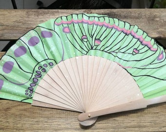 Hand Fan - Madame Butterfly in pink and white