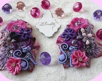 Cats inspired earrings Bohemian romantic floral pattern