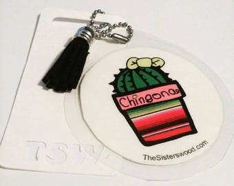 """CHINGONA CACTUS Laminated Purse or Planner Tag 3"""" with Tassle"""