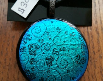 Dichroic Pattern Fused Glass Pendant