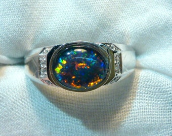 Mens Opal Ring Sterling Silver, Natural Opal Triplet. 10x8mm Oval . item 070933.