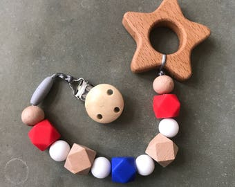 Star Patriotic Teether Teething Clip Toy Wood Silicone Sensory Teether Car Seat/Stroller toy