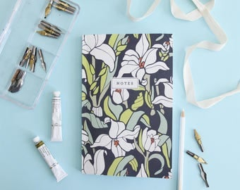 Notebook - Monja Blanca Orchid // Floral Hand-Illustrated Journal // Botanical Notes Diary // Softcover Book // School Journal, Teacher Gift
