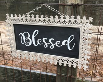 Shabby Chic Metal Frame Hand-painted Blessed hanging Sign