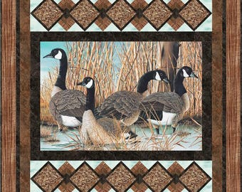 Picture This quilt pattern, King, Queen, Throw, Northcott Canada Geese, Moose, Wilmington panel,