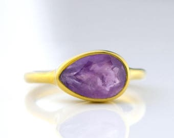 ON SALE Purple Amethyst Ring, February Birthstone Ring, Gemstone Ring, Stacking Ring, Gold ring, tear drop Ring gift, stacking ring, stateme