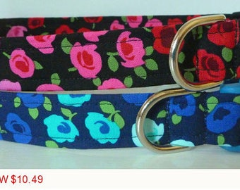 """Sale - 50% Off Rose Dog Collar / Floral Dog Collar/ Red & Blue Collar - """"Rosie Rose """" - Free Colored Buckl"""