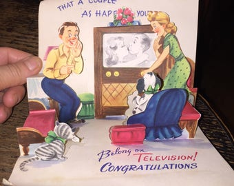 Fun Kitsch Pop Up Greeting Card Circa 1950s-60s Humorous Congratulations to Happy Couple w Televison and Kitty