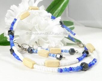Blue Seed Bead Necklace, Jewelry Set w Hematite Beads,  Bead Necklace, Blue Glass Bead Necklace, Blue Jewelry, Womens Liquidation Sale