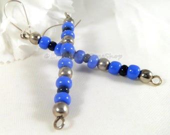 Sterling Silver Blue Earrings, Czech Glass Earrings, Boho Earrings, Hippie Gypsy Bohemian Earrings, Trending Womens Jewelry, Gift for Her