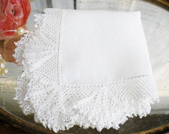Retro Bridal White Hankerchief With Fancy Crochet Lace Edge/Vintage Heirloom Wedding Hankie/Tea Party/Mother of The Bride/Shabby Chic/Gift