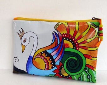 SMALL clutch fancy white and multicolored, waterproof oilcloth with zipper