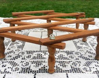 Accordion Mug Rack/Coffee Mug Rack/Expanding Hanger/10 Peg Wood Rack/ Wood Expanding Rack/ Rustic Wooden Mug Rack/ Made in Japan