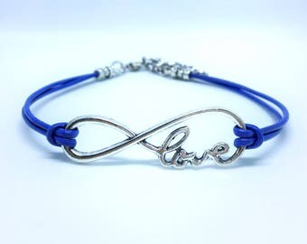Infinity of Love Charm Bracelet with Periwinkle Leather Cord; Eating Disorder Awareness; 50% profits donated to AFSP for Suicide Prevention