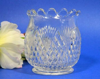Antique EAPG Pressed Glass Spooner Diamond and Fan