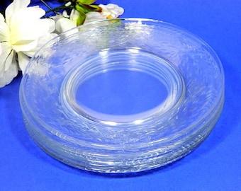 Six Elegant Etched GlassSalad Dessert Plates