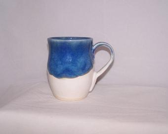 Handmade mug, pottery mug, white and blue ceramic mug, unique mug, ceramic mug,