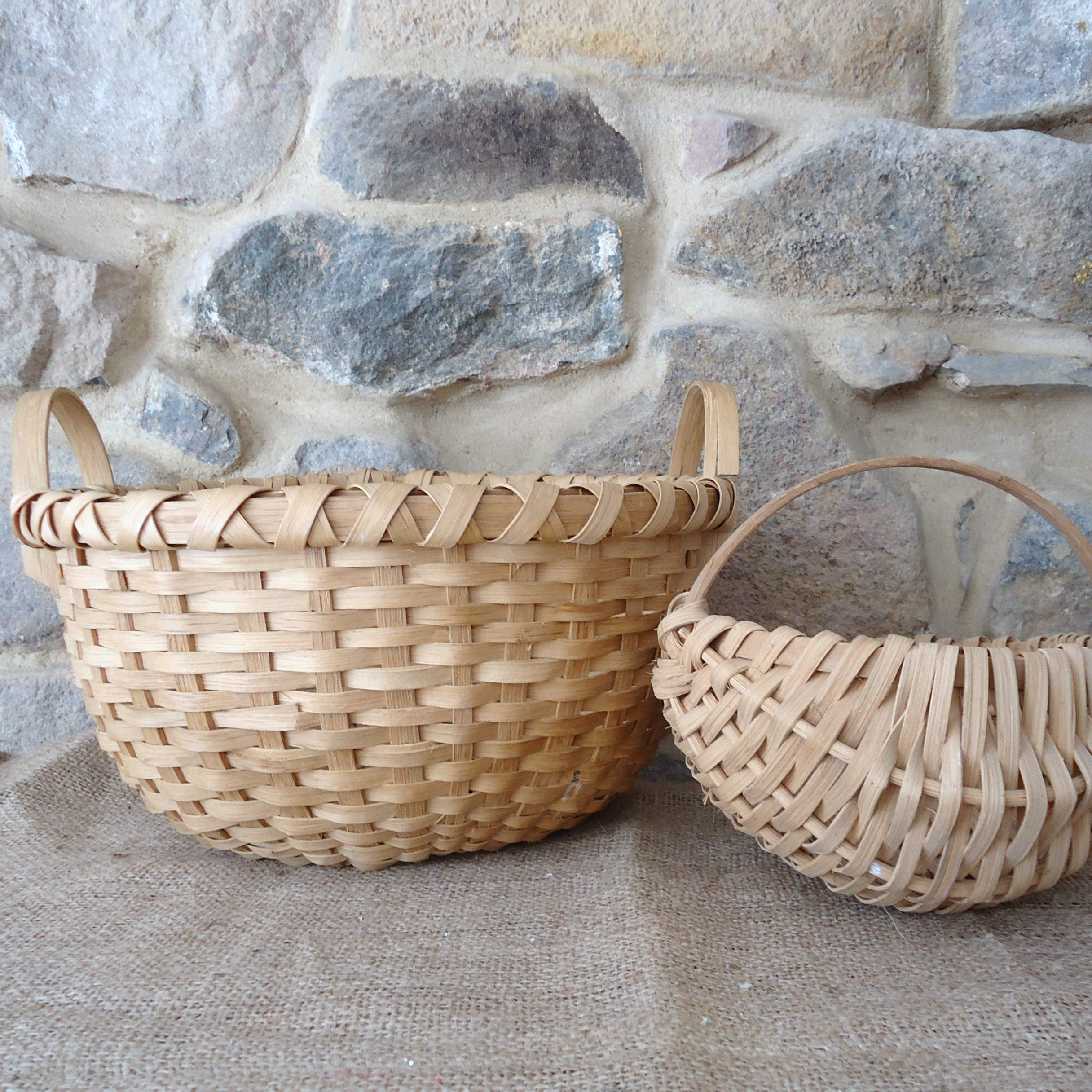 How To Hand Weave A Basket : Hand woven storage baskets egg basket split oak