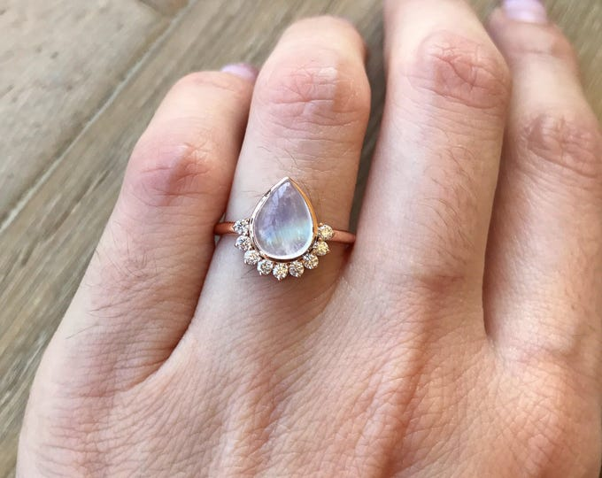Unique Engagement Ring- Rose Gold Moonstone Ring- Rainbow Moonstone Engagement Ring- Rose Gold Promise Ring- June Birthstone Ring