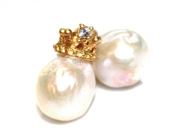 White Baroque Pearl Earrings Large Pearl Earrings Natural Pearl Stud Earrings Crown Earrings Tiara Earrings Pearl Jewelry FizzCandy