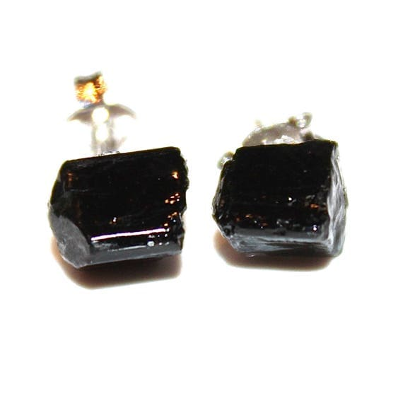 Raw Black Tourmaline Stud Earrings Gifts for Her Gifts for Wife Valentines Gifts for Girlfriend Gifts for Women Best Valentines Gifts