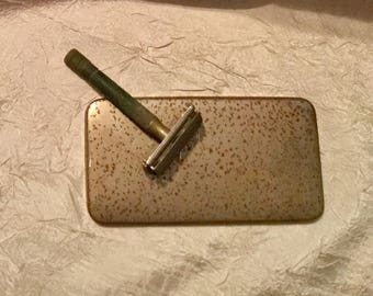 Vintage Very Early Gillette Metal Razor & Razor Case with Great Patina, Very Rustic. Made in USA