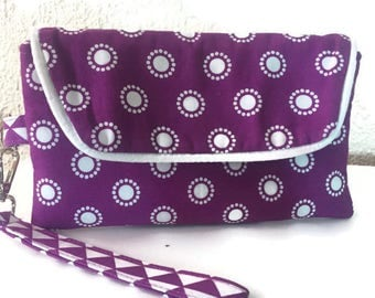 Purple and White Fabric Wristlet, Wristlet, Clutch Wallet, Wallet Wristlet, Clutch Wristlet,Phone Wristlet, Phone Wallet, Gifts for Her