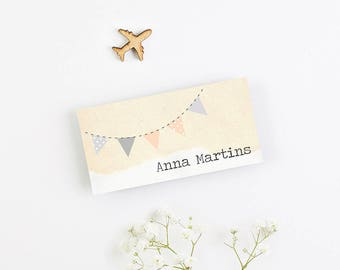 Bunting Map Folded Wedding Place Card